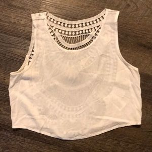 White tank with crochet open back detailing